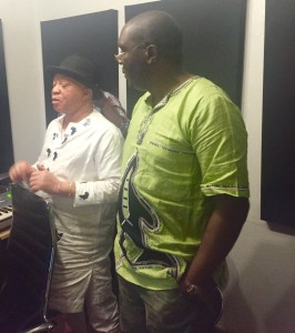 Mzee and Salif Keita during the recording of the song We are all Africans